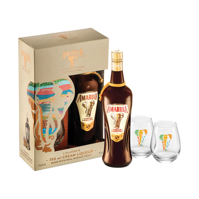Amarula Liqueur 750ml with 2 Glasses in Gift Pack