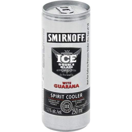 SMIRNOFF ICE DBL BLACK GUARANA CAN 250ML